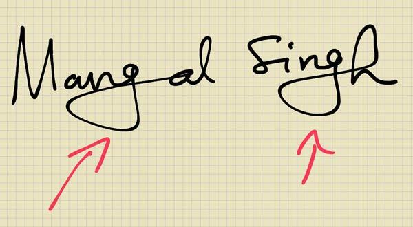 Inflated lower zone, handwriting analysis